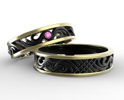 black wedding band sets two tone gold his and hers pink sapphire wedding band set vidar