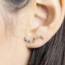 are leverback earrings for pierced ears constellation earrings ear crawler earrings zodiac jewelry