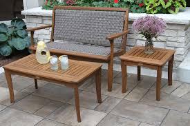 Eucalyptus Outdoor Table by Driftwood Grey Wicker U0026 Brown Eucalyptus Bench For Patio Deck Garden