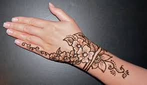 lovely simple henna flowers tattoo design for cool hand