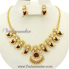 gold plated palakka mala ethic south india kerala choker and