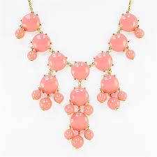 light pink necklace images Soft coral bubble necklace gold tone statement bib necklace by jpg