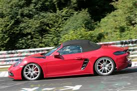 green porsche boxster porsche 718 boxster gts prototype spotted at the nurburgring