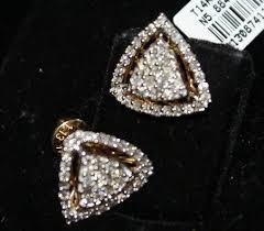 diamond studded hallmark certified 1 06 ct diamond studded triangle earrings