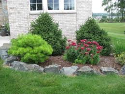modern landscaping ideas for front house with pine trees and red