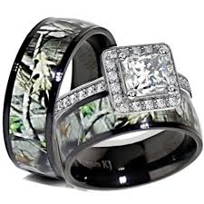 camo wedding rings his and hers his black titanium camo sterling silver engagement wedding ring