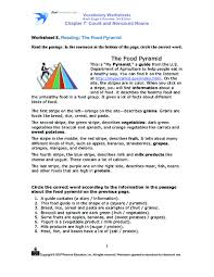 vocabulary worksheets reading the food pyramid 4th 5th grade