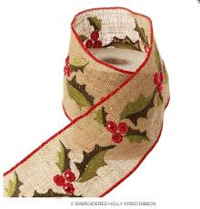 4 inch ribbon burlap embroidered and sequence wired ribbon 4 inch x 5