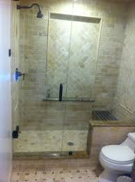 galley bathroom design ideas dark brown tiles and matching wood cabinetry bath enclosure