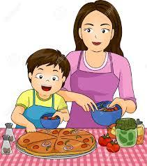 maman baise cuisine illustration d un garçon avec sa pizza maman tout en faisant