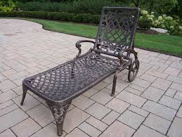 Patio Chaise Lounge Chair by Oakland Living Mississippi Cast Aluminum Wheeled Patio Chaise