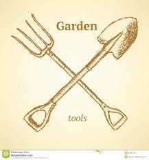 garden fork and shovel background in sketch style inked