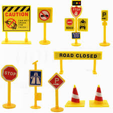 new 10pcs plastic traffic road signs kids children play learn toy
