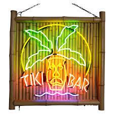 bamboo and neon tiki bar sign at 1stdibs