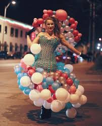 balloon dress woman creates eye catching balloon dresses as wearable