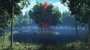 render island lake forest grass leaves trees wallpaper at 3d