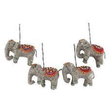 set of 4 handmade elephant ornaments elephants in novica