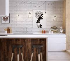 Scandinavian Kitchen Design Kitchen Scandinavian Kitchen Features White Exposed Brick Wall And