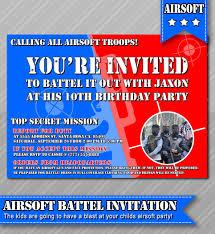 Airsoft Backyard War Airsoft Party Invitation Photo Invitation Airsoft War Invitation