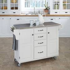 crosley white kitchen cart with stainless steel top kf30002ewh