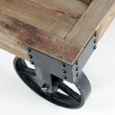 industrial coffee table on wheels with casters afim thippo