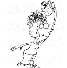 vector of a cartoon fertile woman watering the flowers on her head