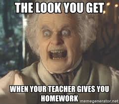 Crazy Teacher Meme - the look you get when your teacher gives you homework crazy old