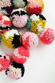 yarn stash pom pom ornaments smile and wave