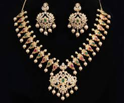 diamond pearl necklace images Gold plated indian party wear american diamond pearl necklace jpg