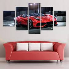 online get cheap orange sport car aliexpress com alibaba group wall art picture 5 panel cool orange reflective sports car large hd canvas print painting for