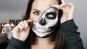 Halloween Skeleton Make Up by Halloween 2 Pulled Up Skin Skull Makeup Squelette Youtube
