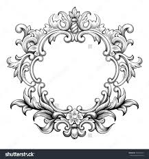 engraving clipart classic frame pencil and in color engraving