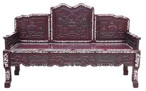 Asian Benches Chinese Red Rosewood Mother Of Pearl Long Bench Chaise Asian