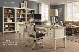 Antique Desk With Hutch Cottonwood Farmhouse Antique White 72 Curve Half Pedestal L Desk