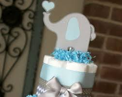 2 tier gray and navy blue elephant diaper cake elephant baby