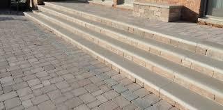 brussels block patio with custom limestone steps garden