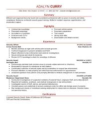 security guard resume sample free resume template security guard