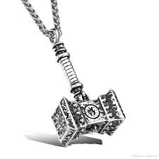 wholesale thor hammer necklace in stainless steel superhero