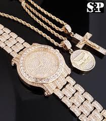 jesus hip hop necklace images Men hip hop iced out lab diamond watch jesus cross last supper neck jpg
