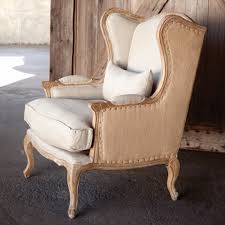 French Linen Armchair Park Hill Collection Vintage Home Decor