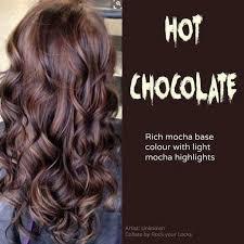 rich cherry hair colour hot chocolate rich mocha base colour with light mocha highlights