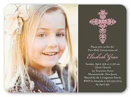 communion invitations for girl gaelic cross girl 5x7 invitation communion invitations