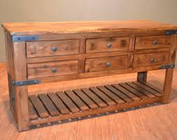 Solid Wood Buffet Table Rustic Solid Reclaimed Wood Console Entry Way Cabinet