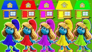 learning colours smurfs video kids children