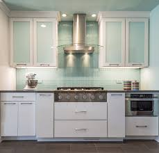 led backsplashes white and blue kitchen decorating using light blue colored glass