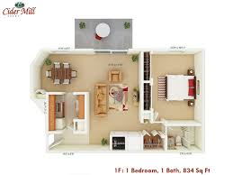 cider mill apartments floor plans floor plan style 1f 1 bedroom 1 bath 834 sq ft