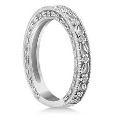 carved wedding band carved floral designed wedding band anniversary ring palladium