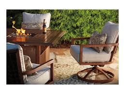 Garden Table And Chairs With Fire Pit Signature Design By Ashley Zoranne Outdoor Square Fire Pit Table