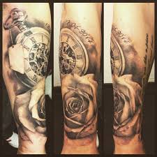 new half sleeve tattoo with our wedding date and time love it