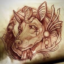 black ink anubis head tattoo design
